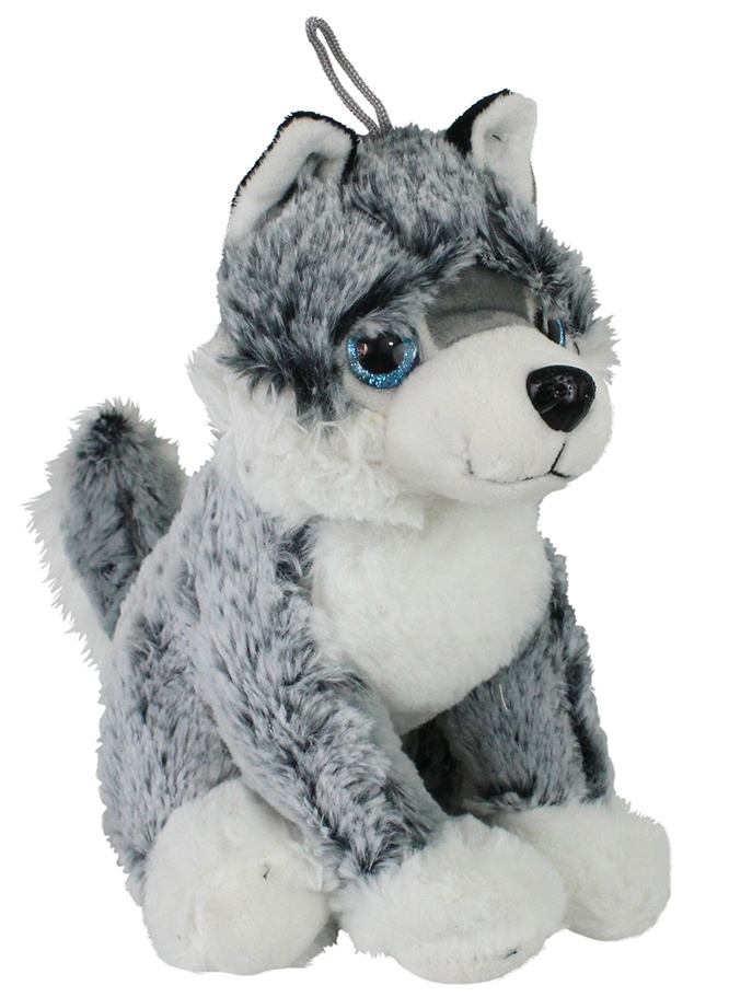Husky Hund mit Glitzeraugen ca 26cm