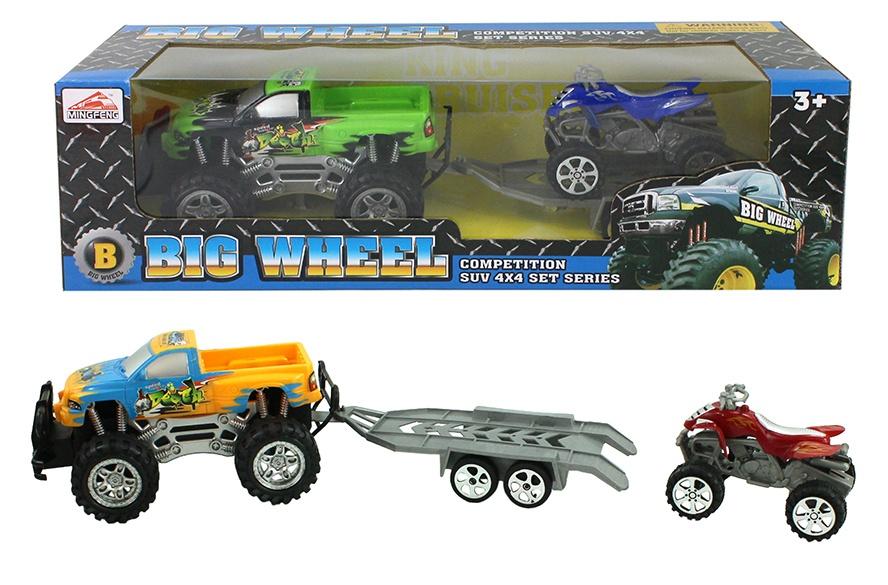 Monstertruck mit Quad auf Anhänger 2-fach sortiert ca 40cm