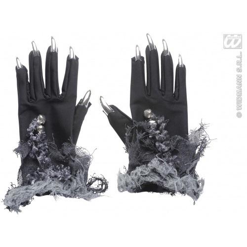 Handschuhe schwarz mit silbernen Fingernägeln/Krallen