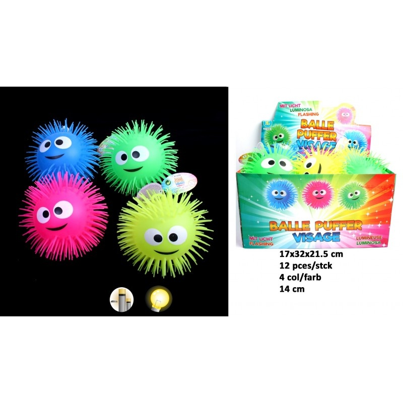 Fluffy Ball mit Gesicht leuchtend farbig 4 Farben sortiert