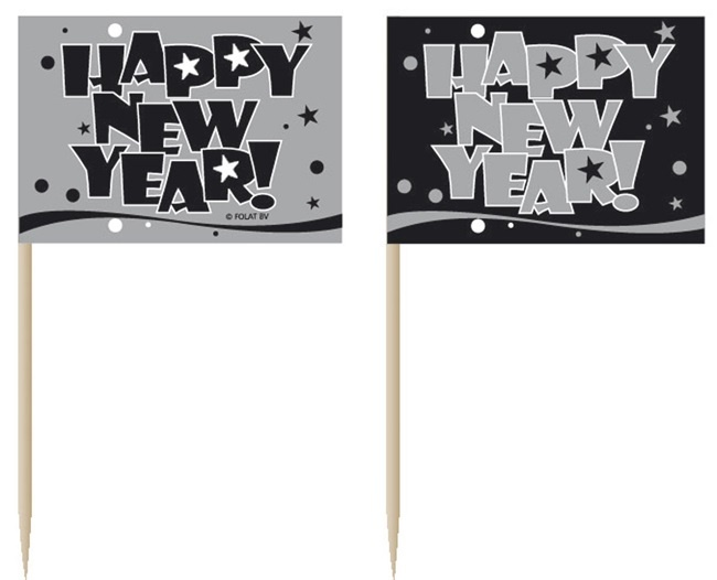 Fahnenpicker HAPPY NEW YEAR 50 Stück - ca 6,5cm