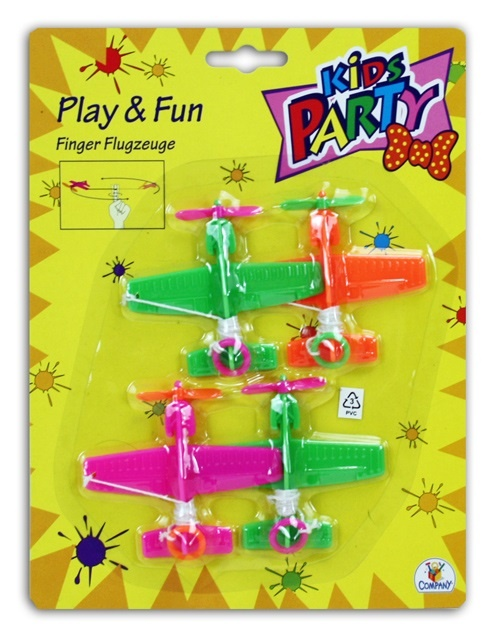 TTC Kids Party Finger Flugzeuge 4 Stück auf Karte ca 25x19cm