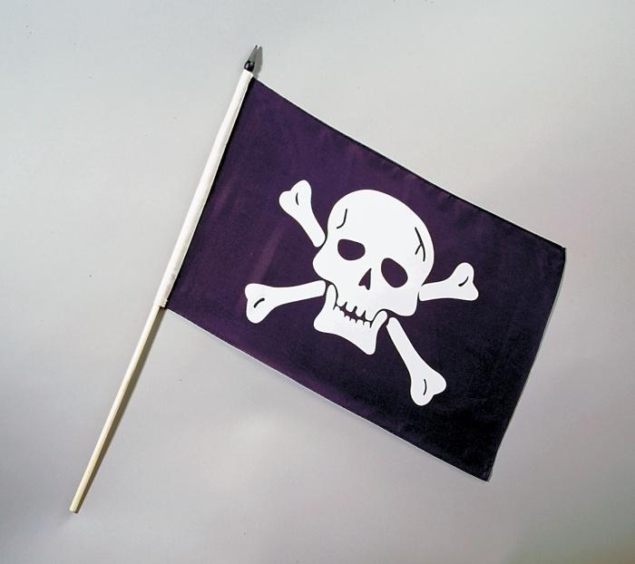 Piratenfahne, ca. 30 x 45 cm, mit Stab