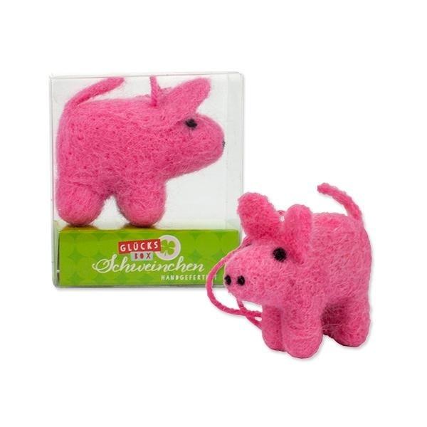 Glücks Schweinchen aus Filz  in Box ca 7 x 6 x 2,5 cm