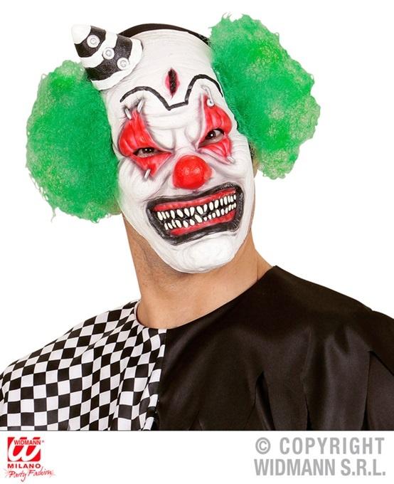 Maske Killer Clownmaske mit Haaren und Minihut