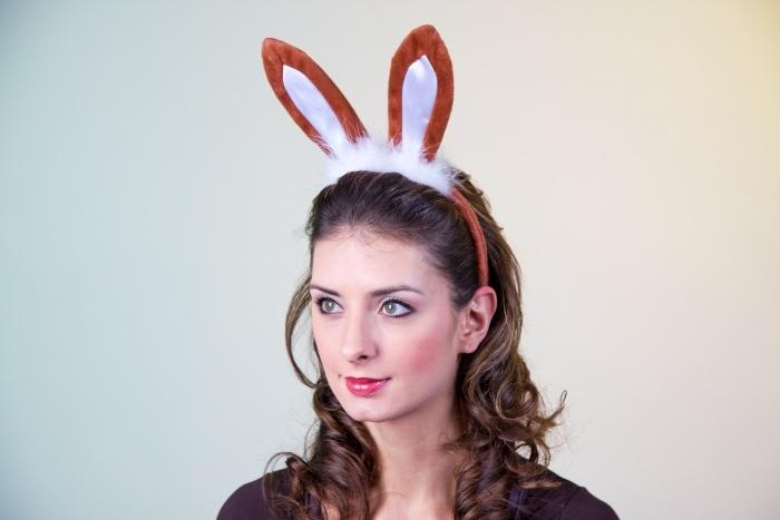 Kopfbügel mit Hasenohren, braun/weiß