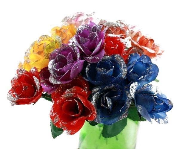 Rose - Röschen mit Silberglitzer 6-fach ca 17,5 cm