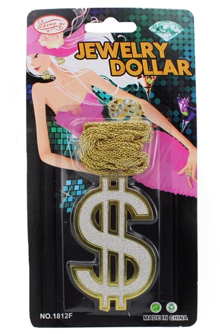 Halskette Dollarzeichen auf Karte ca 19x10 cm