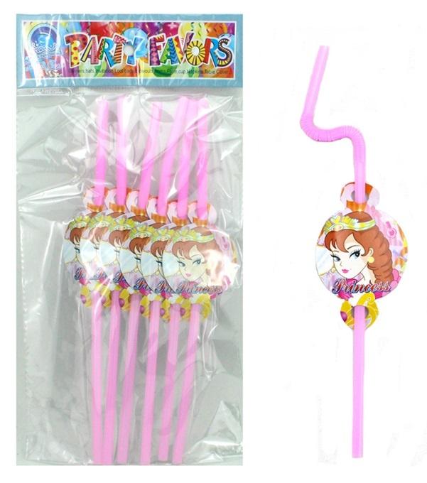 Trinkhalme Prinzessin Design 6 Stück im Beutel