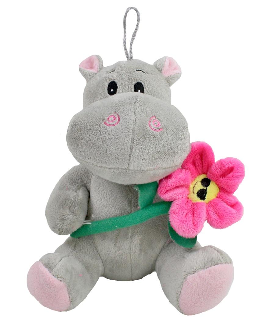 Nilpferd mit Blume sitzend ca 21 cm