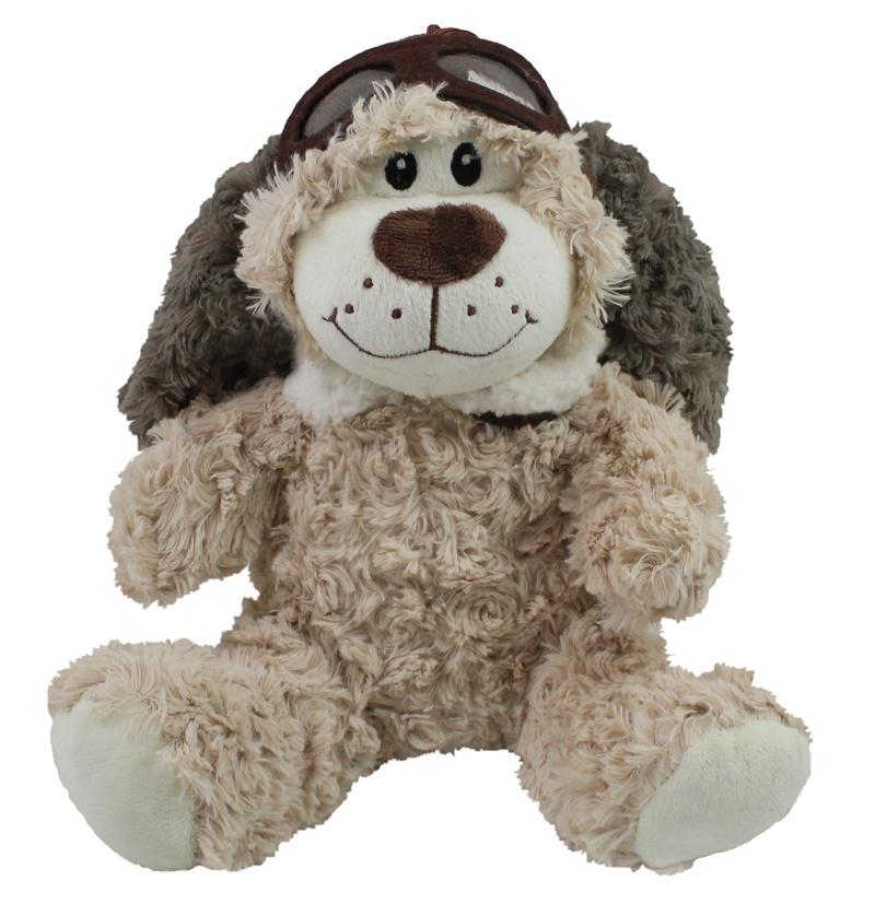 Plüsch Hund mit Fliegerkappe und Brille ca 25 cm