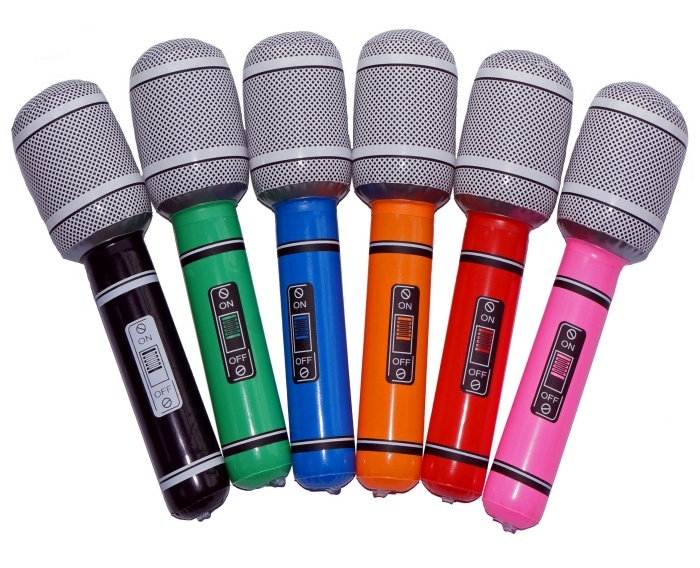 aufblasbares Mikrofon, ca. 24 cm, sortierte Farben