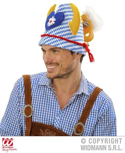 Hut blau-weiß mit Geweih, Edelweissherzen und Bierkrug
