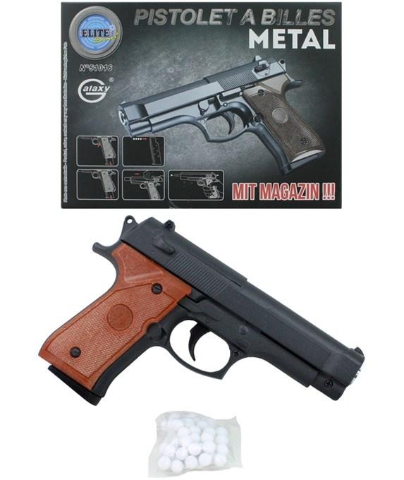Kugelpistole Metall max 0,5 Joule mit Magazin - ca 15cm