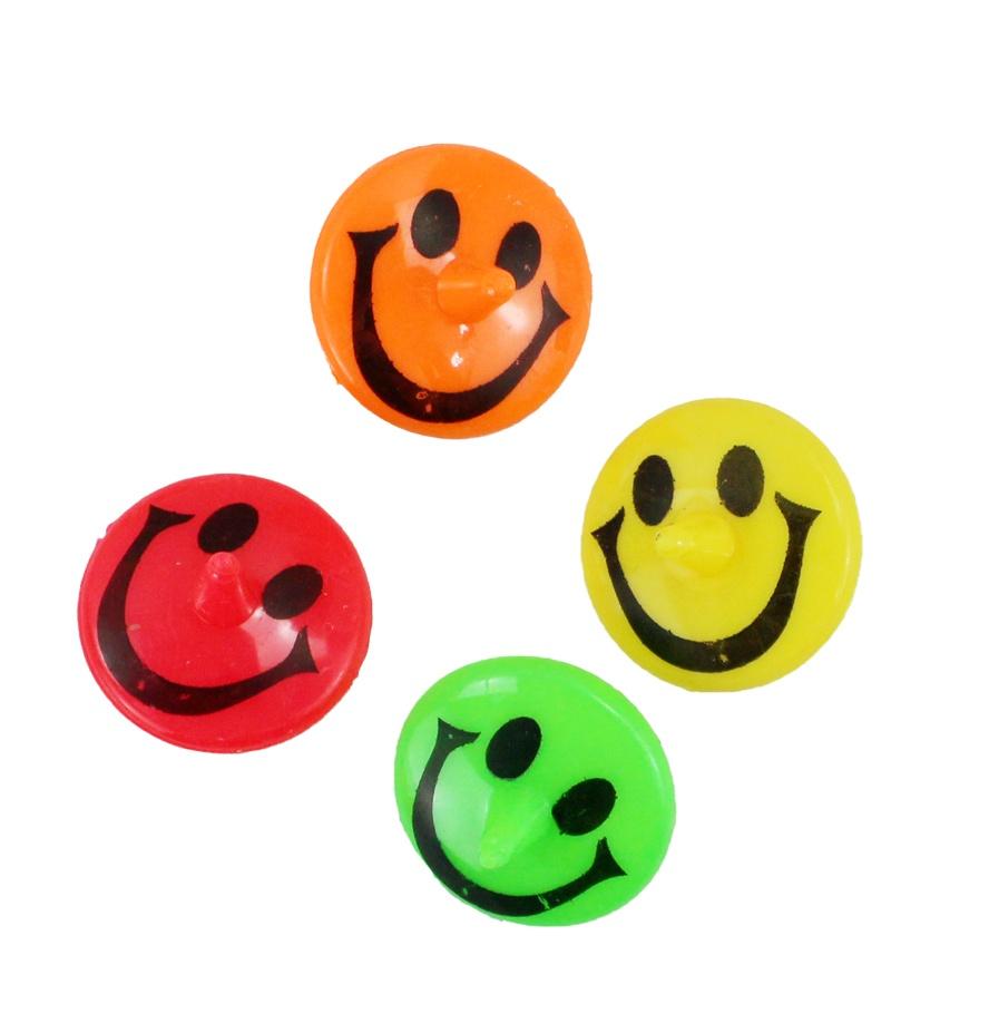 Kreisel mit Lachgesicht 4 Farben sortiert ca 4 cm
