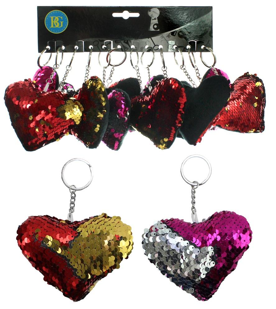 Herz mit Pailletten an Schlüsselanhänger 2 Farben - ca 10 cm
