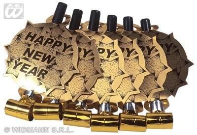 Luftrüssel Happy new Year gold - 6 Stück - gesamt ca 39cm