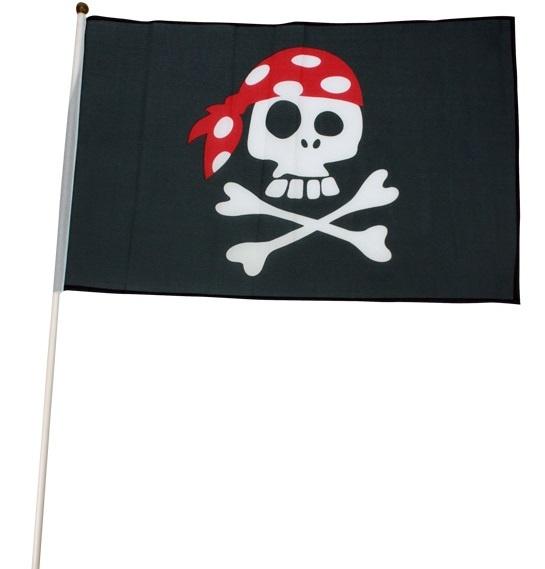 Piratenfahne ca 45 x 30 cm mit Stab ca 60cm