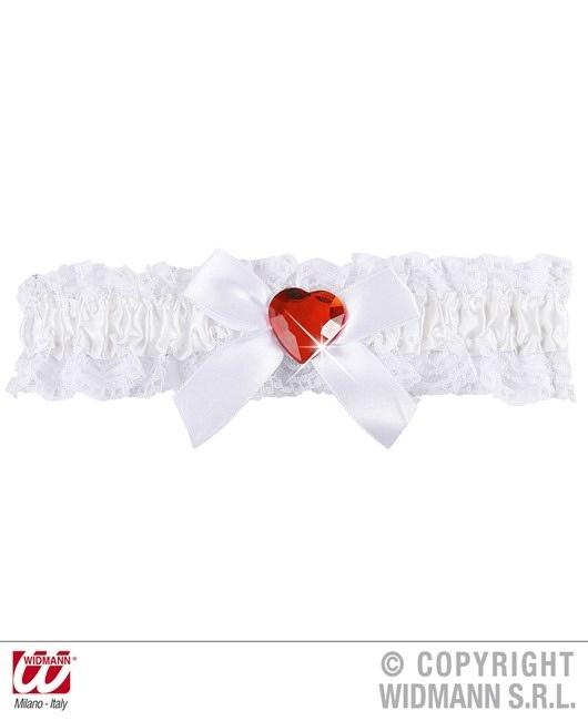 Strumpfband weiß mit Schleife und rotem Herzjuwel