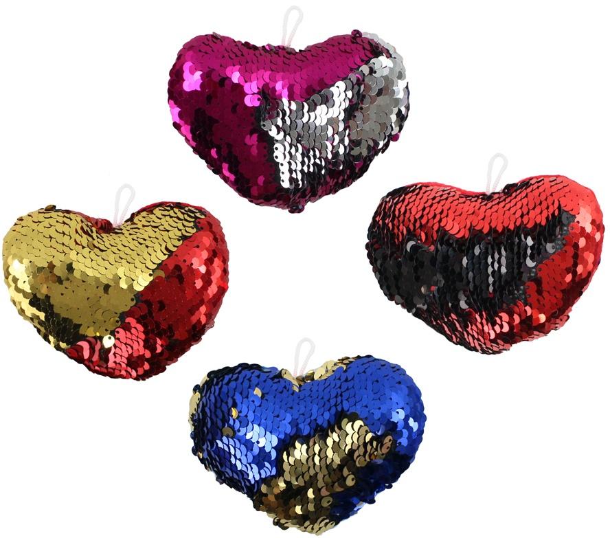 Herz mit Pailletten 4-fach sortiert ca 14 cm