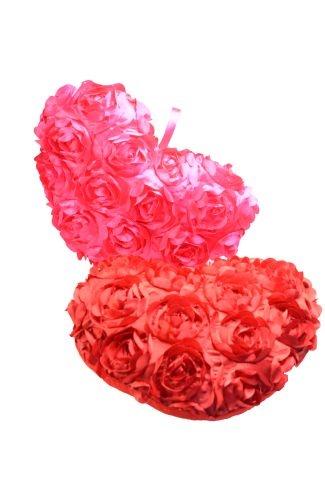 Herz mit Satinrosen rot und pink sortiert ca 35 cm