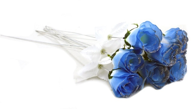 Rosenknospe hellblau mit Glitter ca 45 cm