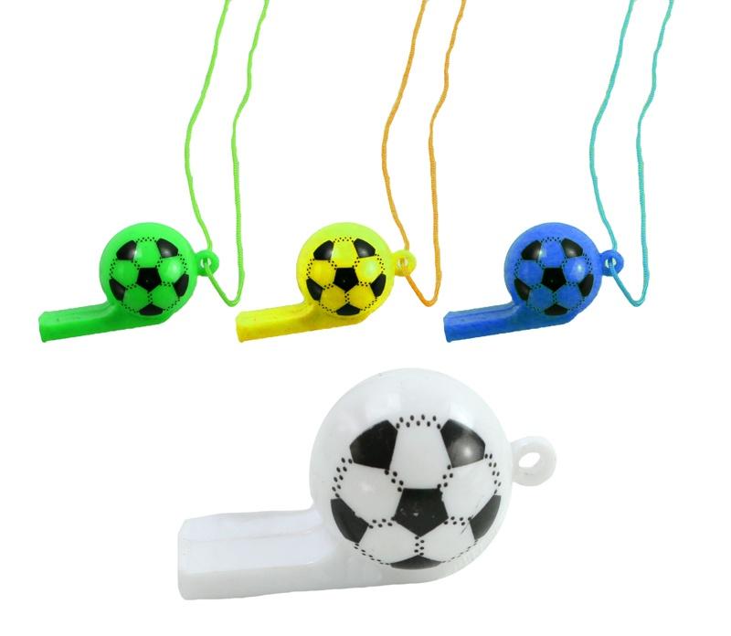 Trillerpfeife Fußballpfeife am Band 4 farbig sortiert ca 5cm