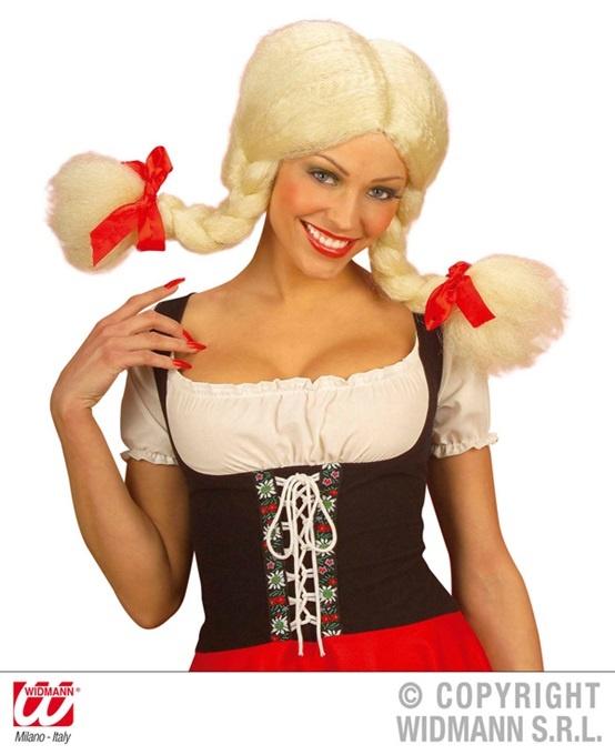 Perücke Heidi modellierbar blond mit Zöpfe