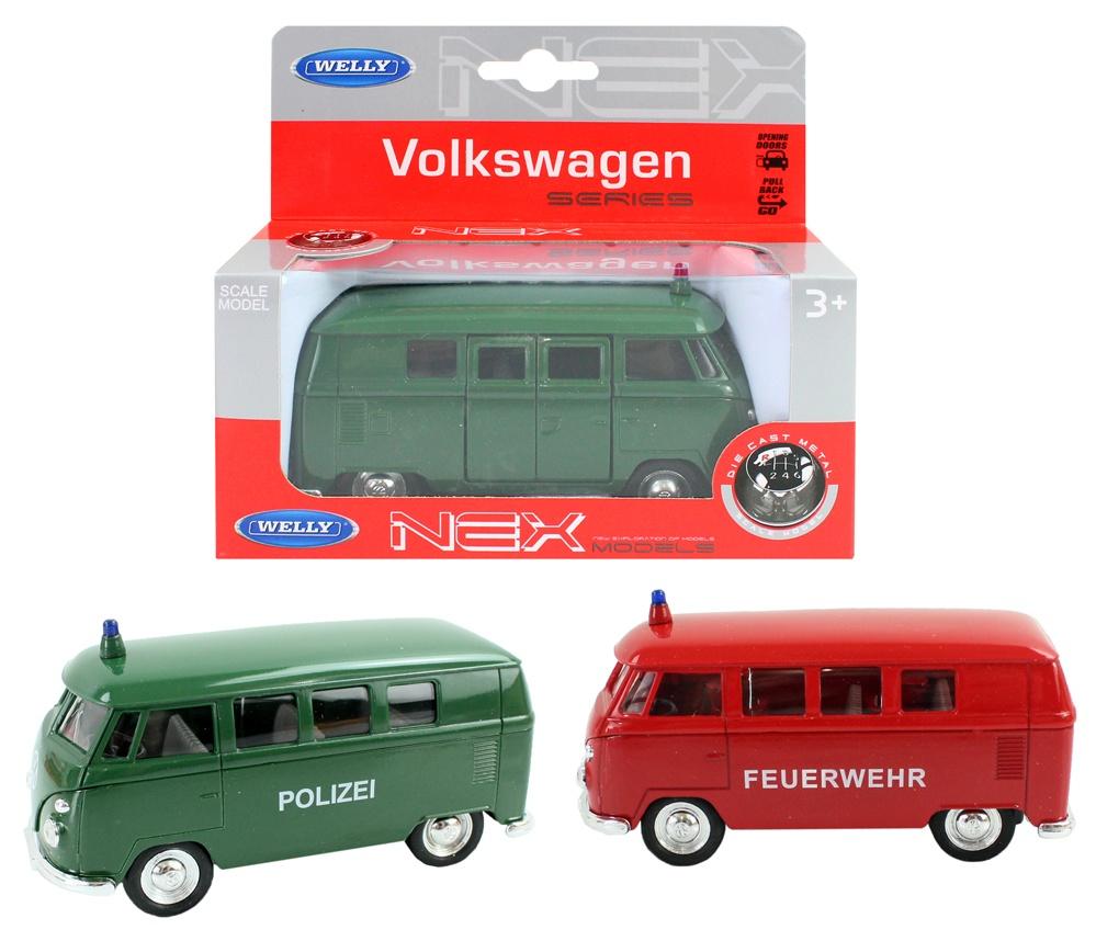 WELLY Volkswagen 63 T1 Bus Polizei/Feuerwehr - ca