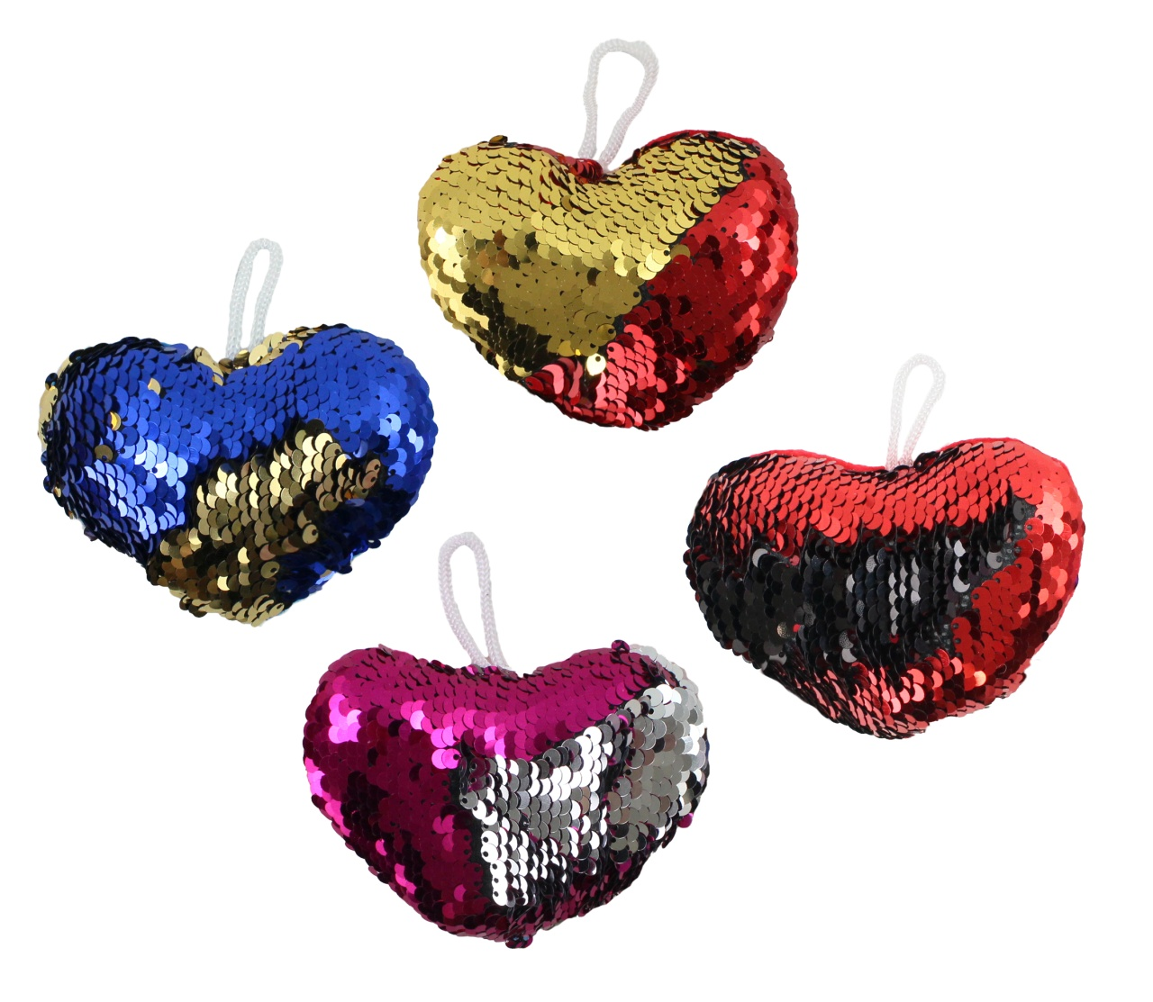 Herz mit Pailletten 4-fach sortiert -  ca 10 cm