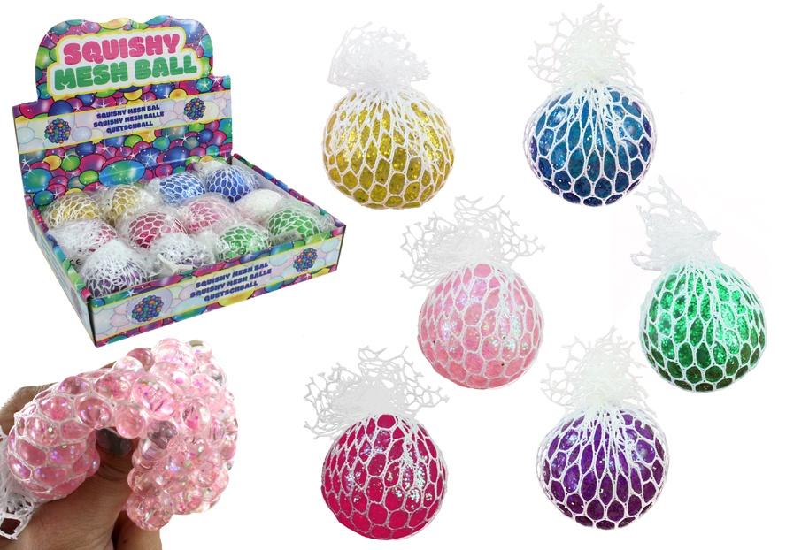 Knautschball mit Glitter im Netz  Ø ca 6cm