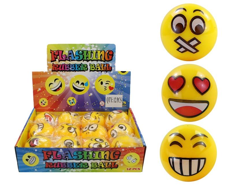 Ball Leuchtball Springball gelb mit Gesichtern - ca 55mm