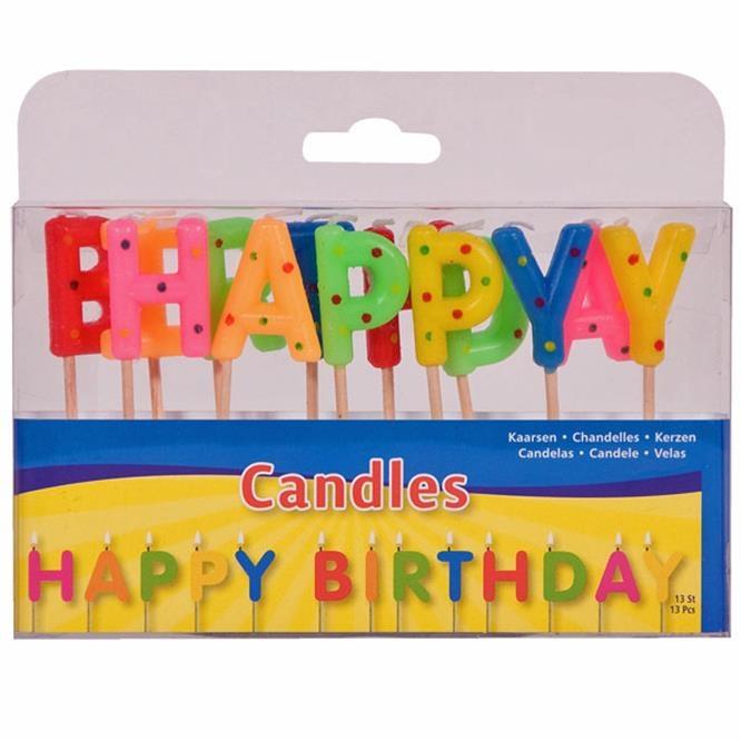 HAPPY BIRTHDAY Kerzen 13 Buchstaben in Box ca 14x8,5x2,5cm