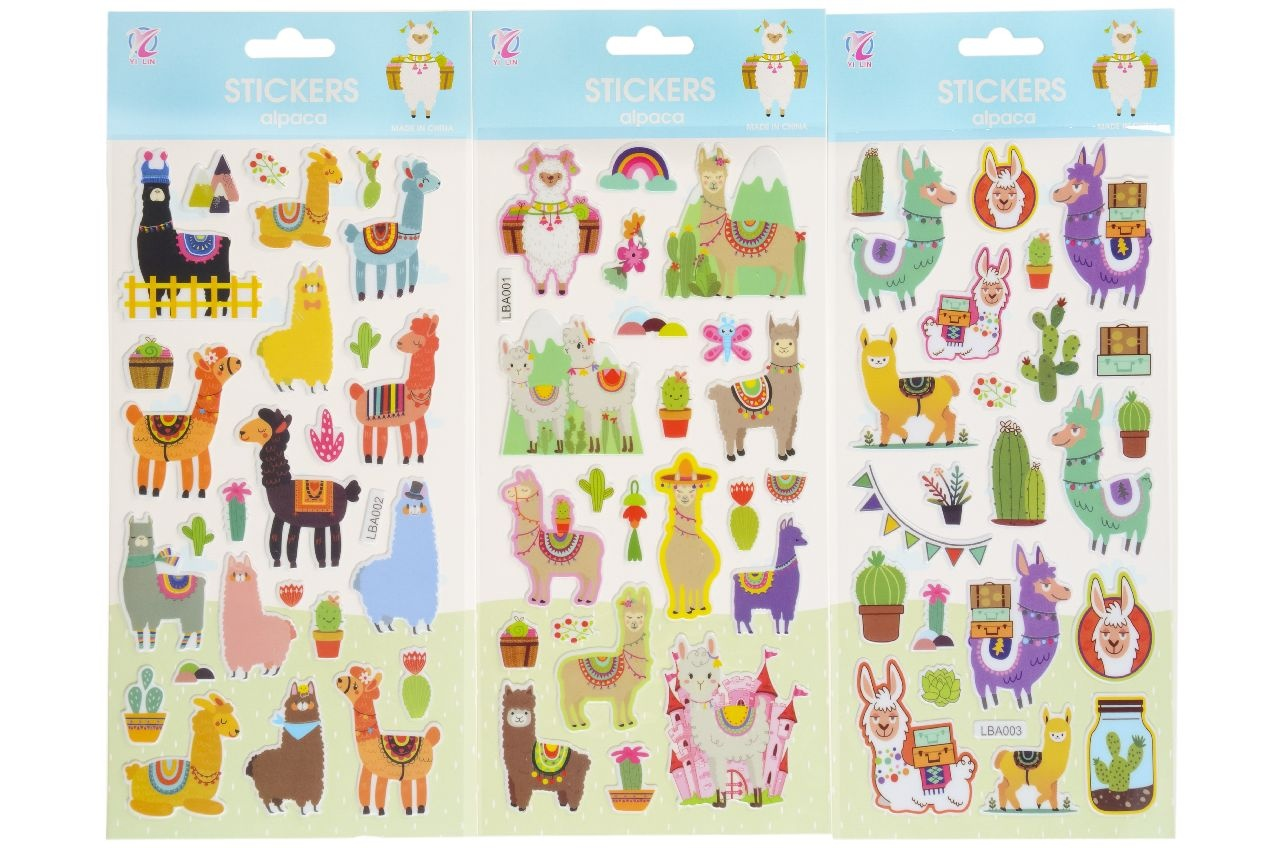 Sticker Alpaka/Lama 3-fach sortiert im Beutel ca 28,5x12,5cm