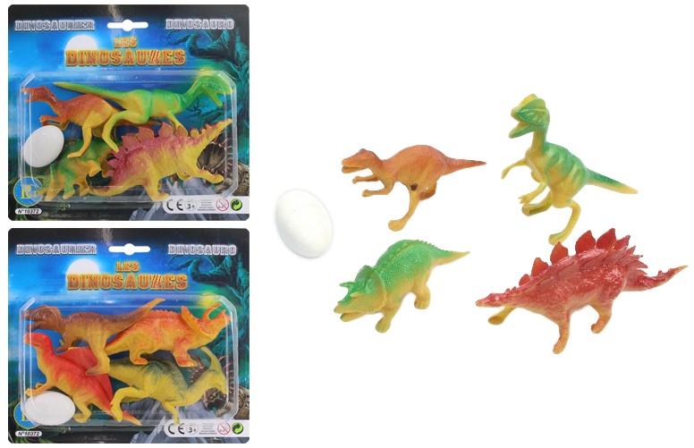Dinos 4 Stück auf Karte 2-fach sortiert - ca 21x19cm