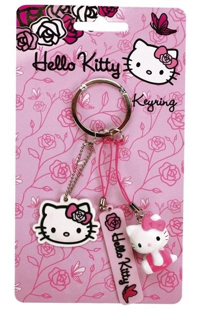 Hello Kitty Pink Roses - 3er Schlüsselanhänger - ca 3-6cm