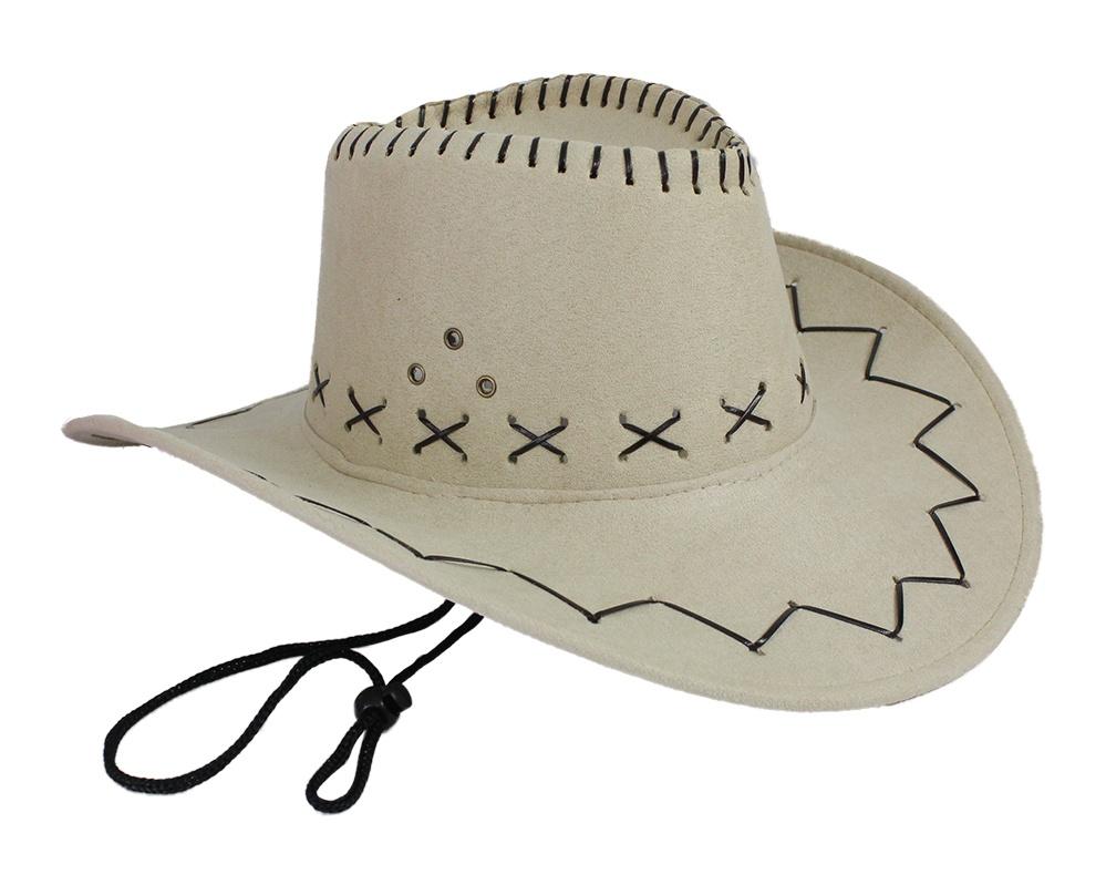 Cowboyhut beige Velourlederoptik