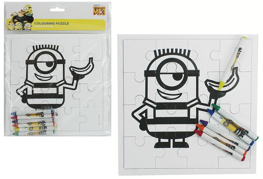 Puzzle Minions zum Ausmalen mit 6 Wachsmalkreiden