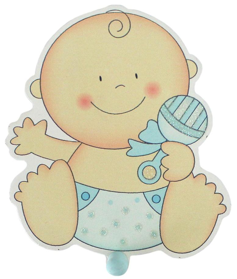 Bieco Garderobe Holz Baby blau ca 13x11,5cm