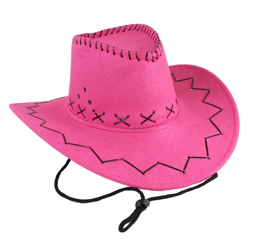 Cowboyhut pink Velourlederoptik