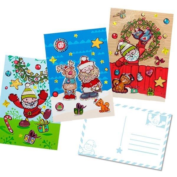 Weihnachts Postkarte mit Glitzerstickern- ca 21,5x11,5cm