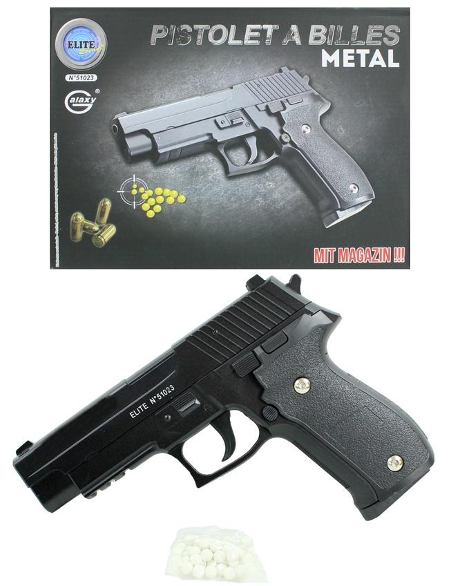 Kugelpistole mit Magazin Metall max 0,5 Joule ca 20 cm