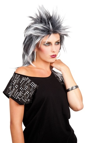 Perücke - Kelly Rockerfrisur schwarz/grau