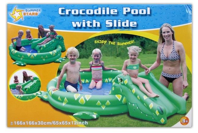 Krokodil pool mit rutsche 1 60x1 60 planschbecken schwimmbecken schwimmbad neu ebay - Pool zum aufpumpen ...