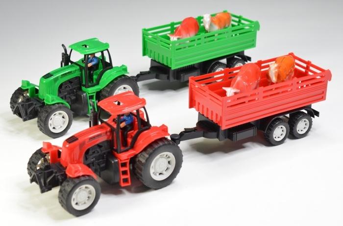 Traktor mit Hänger, 2-fach sortiert, in Box ca 48x13x10 cm