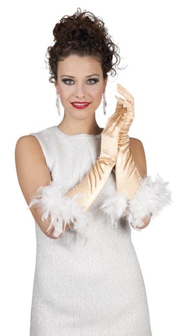 Handschuhe - Ellenbogen St. Tropez gold mit Federn- ca45cm