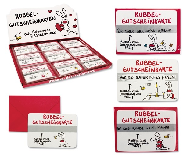 NIC - Gutschein Rubbelkarten 9-fach sortiert - ca 9x6cm