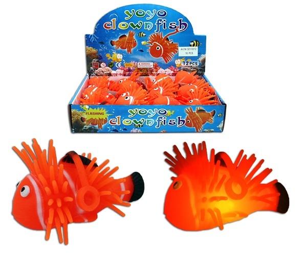 Fluffy Clownfisch blinkend mit Schnur - ca 10cm