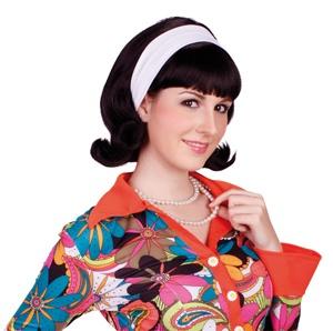 Perücke - Vivian mit weißem Haarband - schwarz