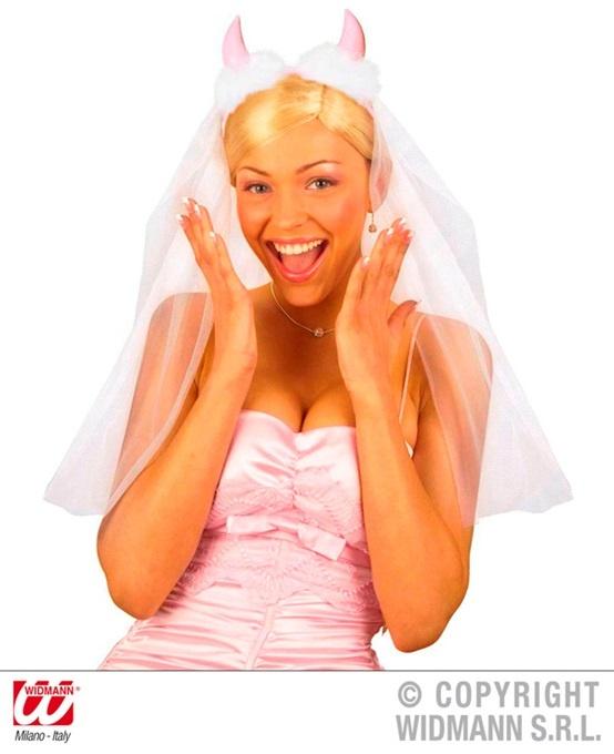 Brautschleier mit rosa Teufelshörnern